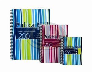 PukkaPad Jotta Stripe Irodai füzet spirál A5, perforált, lyukasztott, 100 lap,műanyag borítós vonalas