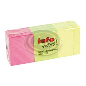 Öntapadó jegyzettömb 50x40mm, neon mix, 12tömb/csomag
