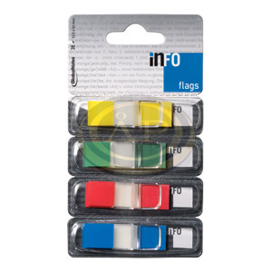 Jelölő címke 4x1szín Info Notes 12,4x43mm műanyag lapok, műa.adagolóban
