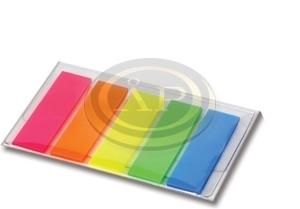 Jelölő címke 5szín 12,5x44mm, 5x25 lap műanyag átlátszó lapok