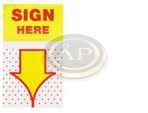 Jelölő címke 'Sign here' aláírásjelölő, 25x43mm, 50db