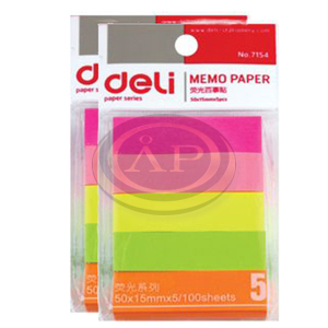 Deli öntapadós jelölő címke, 50x15 mm, 2x5 színű, 100lap/szín