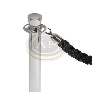 Kötél kordon oszlophoz 1500mm króm FEKETE Jansen Display