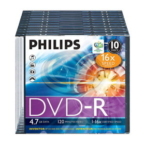 DVD-R Philips, 4,7GB, 16x, slim tokban
