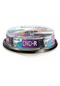 DVD-R PHILIPS, 4,7GB, 16x, hengeres, 10db/henger