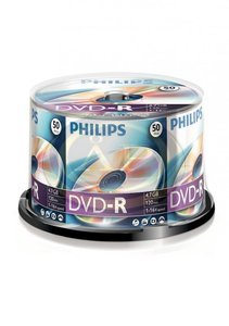 DVD-R PHILIPS 4,7Gb 16x, hengeres, 50db/henger