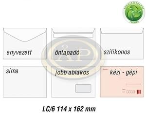 Boríték LC6 enyvezett környezetbarát, jobb ablakos 35x90mm,  114x162mm EURO