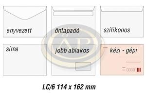 Boríték LC6 öntapadó bélésnyomott 114x162mm