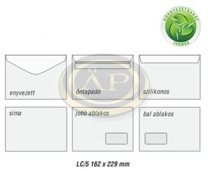 Boríték LC5 enyvezett környezetbarát, balablakos, 35x90mm, B20A20, 162x229mm EURO
