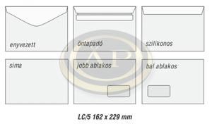 Boríték LC5 enyvezett bal ablak 45x90mm 162x229mm EURO