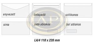 Boríték LA4 enyvezett jobb ablak 45x90mm 110x220mm EURO