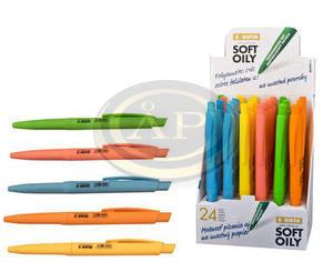 Golyóstoll Sakota Soft Oily, gumis testű nyomógombos, neon színű műanyag tolltest, 0,7mm