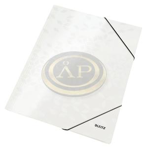 Gumis mappa Leitz lakkfényű karton fehér 39820001
