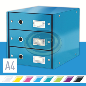 CLICK&STORE 3-fiókos irattároló, kék 60480036