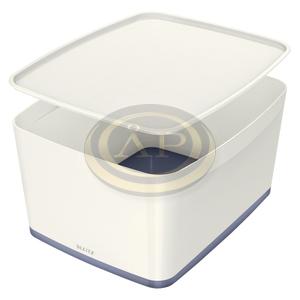 Leitz MyBox tárolódoboz fedővel, nagy, fehér/szürke 52161001