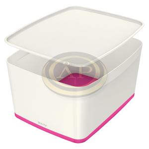 Leitz MyBox tárolódoboz fedővel, nagy, fehér/rózsaszín 52161023