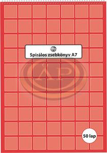 Spirálos zsebkönyv A7 50 lapos kockás
