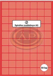 Spirálos zsebkönyv A5 50 lapos kockás