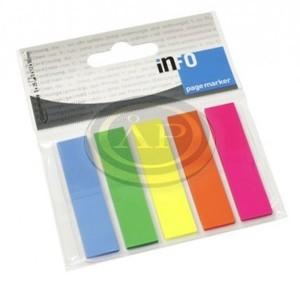 Jelölő címke 5szín, 12,5x43mm, 5x25 átlátszó műanyag lapok