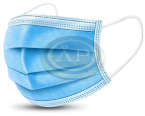 Egészségügyi szájmaszk - kék, 3rétegű, gumis