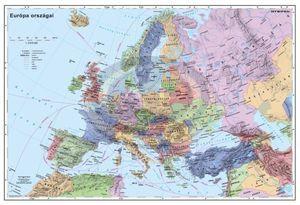 Falitérkép, 136x90 cm, fémléces, Európa autótérképe, STIEFEL