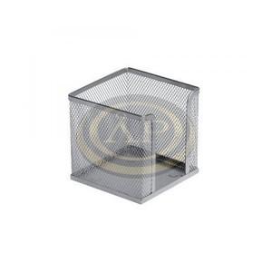 Fémhálós jegyzettömbtartó ezüst, 10x10x8cm