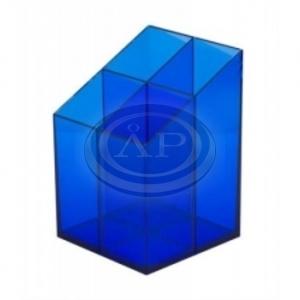 Írószertartó 4 rekeszes, négyszögletű, átlátszó kék szín