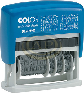 Dátumbélyegző COLOP S120WD önfestékező, 12 gyakori szóval
