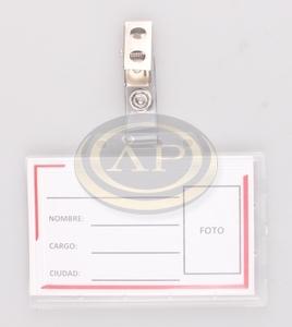 Névkitűző / kártyatok, kemény műanyag, cc.92x59mm + csipesz