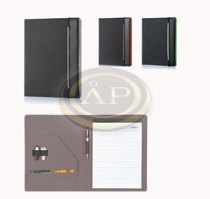 Konferencia mappa Sakota A4, szürke - fekete, gumi leszorító szalag, rekeszes, EAN2723