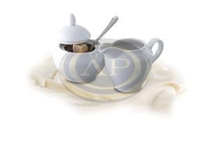 Cukortartó fedővel, Rotberg Basic fehér porcelán, 0,15 l