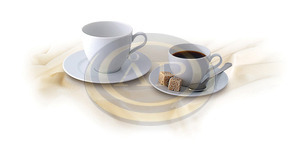 Mokkás csésze + alj, Rotberg Basic fehér porcelán, 10 cl