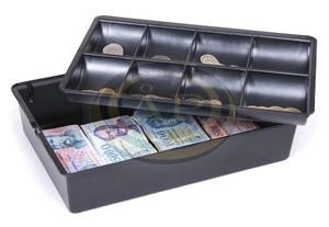 Pénztartó tálca, érmék és bankjegyek számára, 8+1 rekesz, fekete, 330x230x75 mm