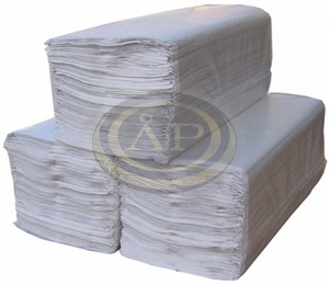 Papírtörölköző Z hajtású FEHÉR 160lap/csom 2 rétegű 80%-os fehérség, 23x25cm / lap