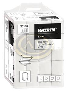 Katrin Basic Handy Pack, hajtogatott kéztörlő (Zig Zag, V-hajtott), 2 rétegű, törtfehér, 100% újrahasznosított, 23x22,4 cm, 200 lap, 35564