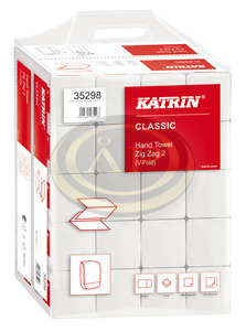 Katrin Classic Handy Pack, hajtogatott kéztörlő (Zig Zag, V-hajtott), 2 rétegű, fehér, 100% újrahasznosított, 23x22,4 cm, 200 lap, 35298