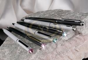 Golyóstoll 'MADE WITH SWAROVSKI ELEMENTS', fehér, SLIM, black diamond kristállyal 13cm  ÚJ!