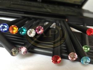 Ceruza 'MADE WITH SWAROVSKI ELEMENTS', fekete, világos rózsaszín kristállyal