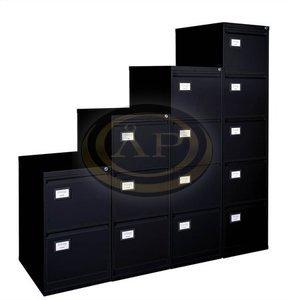 Függőmappatároló-szekrény, 2 fiókos, fekete