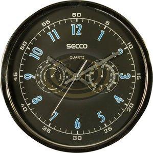 Falióra 30 cm SECCO króm, barométerrel, hőmérővel