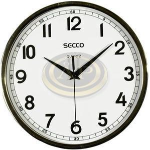 Falióra 24 cm, SECCO Sweep Second, króm keret, fehér számlap