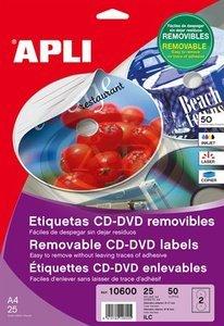 Apli Mega CD/DVD-címke, matt, eltávolítható, külső átmérő 114 mm, belső átmérő 18 mm, magyar nyelvű 25lap/50 címke/csomag